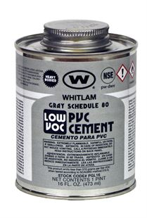 WHITLAM Gray Sch. 80 Heavy Bodied Low VOC PVC Cement