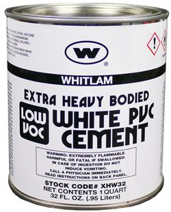 WHITLAM White Extra Heavy Bodied Low VOC PVC Cement
