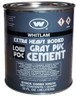 WHITLAM Gray Extra Heavy Bodied Low VOC PVC Cement