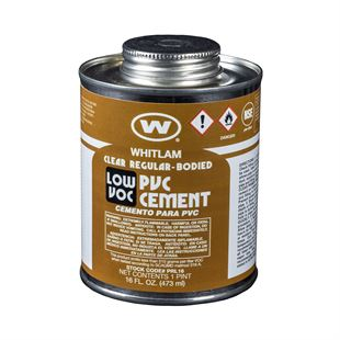 WHITLAM Clear Regular Bodied Low VOC PVC Cement