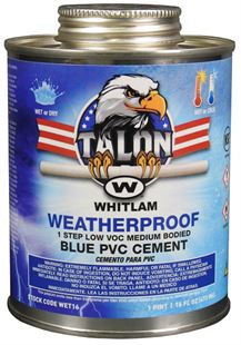 TALON WEATHERPROOF Blue Medium Bodied Low VOC PVC Cement